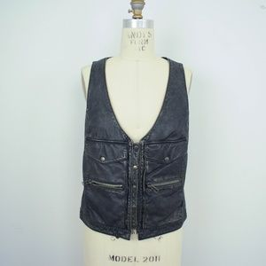 Charlotte Ronson Genuine Leather Vest Moto Biker